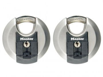 Excell Stainless Steel Discus 70mm Padlock Keyed Alike x 2